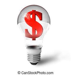 lightbulb, signe dollar