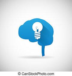 lightbulb, silhouette, symbole, idée, illustration, créatif, cerveau, vecteur, conception, gabarit, icône
