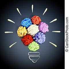 lightbulb, skrynkligt, färgrik, formning, form., illustration, papper, 3