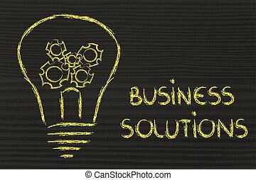 lightbulb, solutions, gearwheels, business