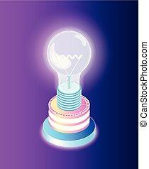 lightbulb, startup, handlowa idea, twórczy, wektor