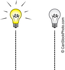 Lightbulb on a string on and off