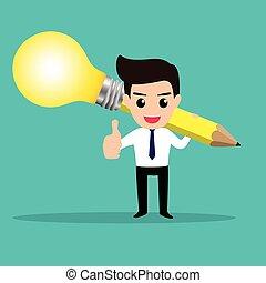 lightbulb, suo, affari, ottenere, idea, pencil., uomo