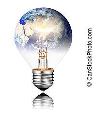 Lightbulb switched ON - World Globe Asia