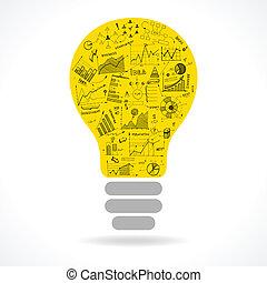 lightbulb, szórakozottan firkálgat, gondolat, táblázatok, infographics, ikon