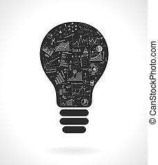 lightbulb, szórakozottan firkálgat, gondolat, táblázatok,...