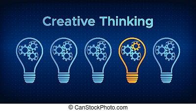 lightbulb, tänkande, kugghjul, begrepp, skapande