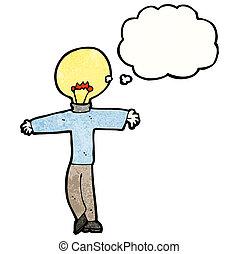 lightbulb, tête, dessin animé, homme