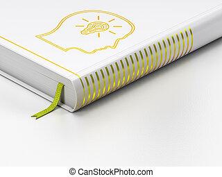 lightbulb, tête, fond, livre, fermé, blanc, education, concept: