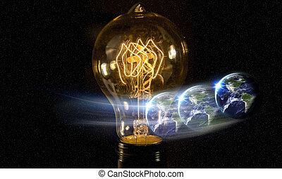 lightbulb, terra pianeta