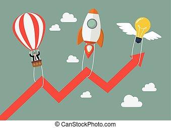 lightbulb, tirata, razzo, grafico, balloon, volare, su