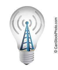 lightbulb, torre, wifi