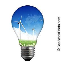 lightbulb, używany, z, czysty, elektryczność, z, wiatr