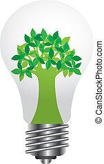 lightbulb, v, árvore