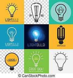 lightbulb, vektor, sammlung
