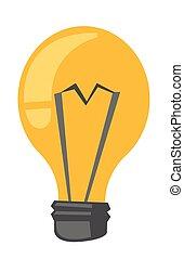 lightbulb, vetorial, caricatura, illustration.