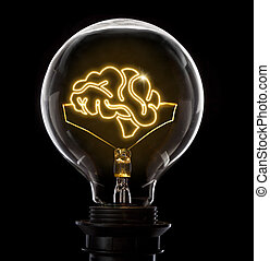 Lightbulb with a glowing wire in the shape of a brain (series)
