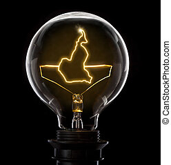 Clean and shiny lightbulb with Cameroon as a glowing wire.(series)