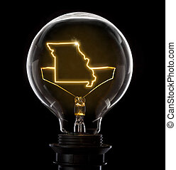 Lightbulb with a glowing wire in the shape of Missouri (...