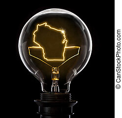 Lightbulb with a glowing wire in the shape of Wisconsin (series)