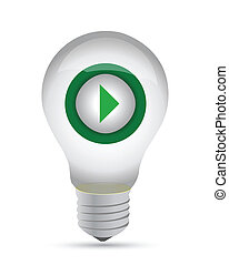 lightbulb with a play button inside