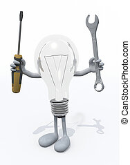 lightbulb with arms and legs and tools on hand