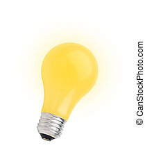 lightbulb, [with, coupure, jaune, isolé, blanc, path]