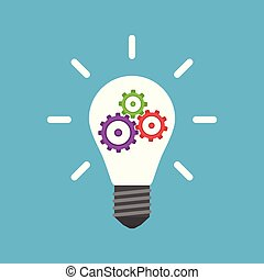 Light bulb with colorful gears inside isolated on blue background. Innovation, idea and insight concept. Flat design. Vector illustration. EPS 8, no transparency