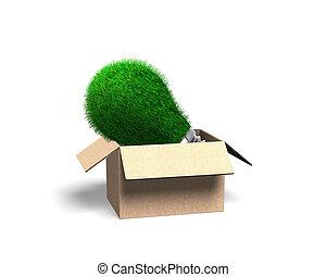 Lightbulb with green grass, cardboard box, 3D illustration