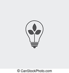 Lightbulb with leaf icon in a flat design in black color. Vector illustration eps10
