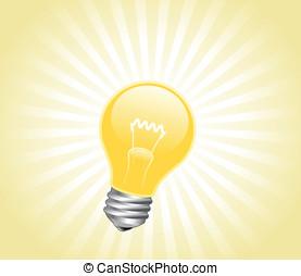 Lightbulb with light beams - Vector illustration of light...