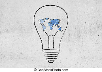lightbulb with map of the world made of wire, ideas for an hyper-connected future