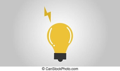lightbulb with rays icons animation design