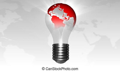 Lightbulb with the planet in it. New world concept