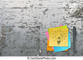lightbulb, zerknittert, begriff, beschaffenheit, klebrige notiz, papier, buero, kreativ