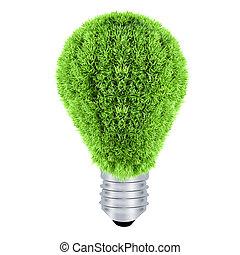 lightbulb.green, eco, energía, concept.