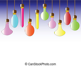 A collection of hanging lightbulbs