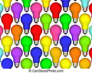 Lightbulbs background of rainbow colours isolated on white. High resolution 3D image