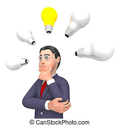 Lightbulbs Businessman Indicates Power Sources And Character 3d Rendering
