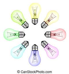 lightbulbs, colorato, isolato, -, idee, creativo, nuovo, ...