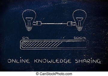 lightbulbs connected with plug & progress bar, online knowledge