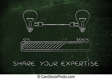 lightbulbs connected with plug & progress bar, share your expertise