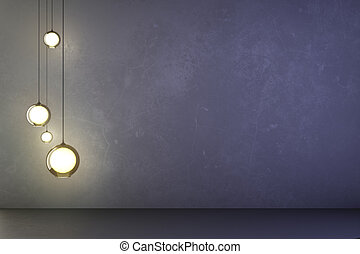 Lightbulbs in an empty concrete room