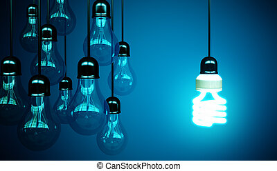 lightbulbs on blue background, idea concept