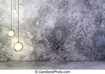 Lightbulbs on concrete wall with concrete floor