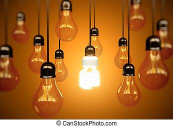 lightbulbs, op, gele
