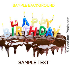 lighted candles on a birthday cake isolated