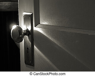 Dim morning light falling on a retro chrome doorknob.