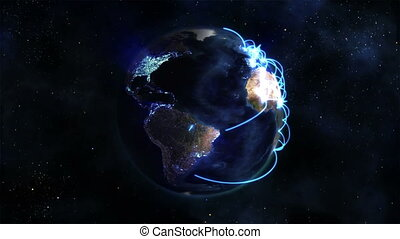 Lighted Earth turning on itself