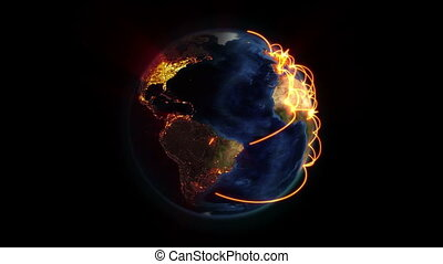 Lighted Earth with orange connections turning on itself with...
